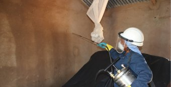 Indoor residual spraying (IRS) in a house, southern Africa © WHO